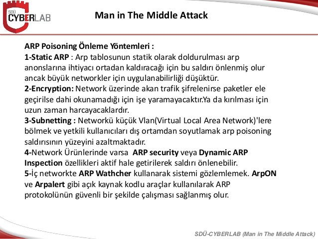 Man in The Middle Attack SDÜ-CYBERLAB (Man in The Middle Attack) ARP Poisoning Önleme Yöntemleri : 1-Static ARP : Arp tabl...