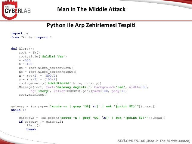 Man in The Middle Attack SDÜ-CYBERLAB (Man in The Middle Attack) import os from Tkinter import * def Alert(): root = Tk() ...