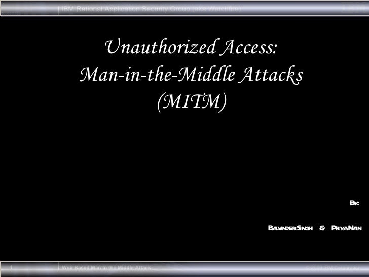 By:  Balvinder Singh  &  Priya Nain Unauthorized Access: Man-in-the-Middle Attacks (MITM)
