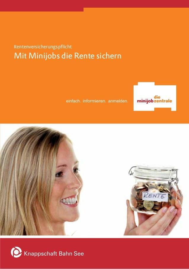 Rentenversicherungspflicht  Mit Minijobs die Rente sichern