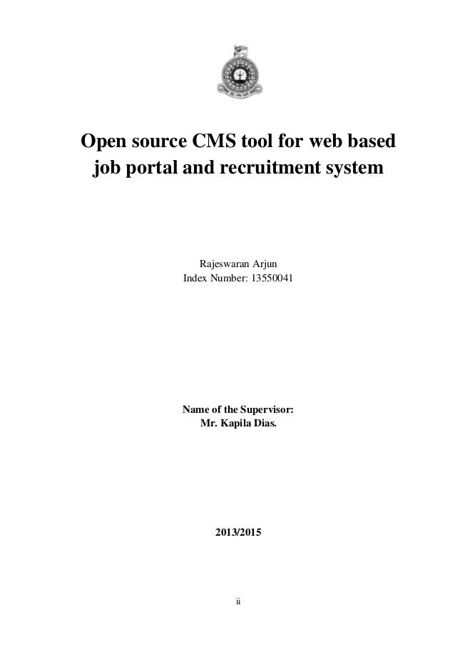 recruitment system thesis E-recruitment system strength and e-recruitment management strength the outcomes of e-recruitment are included as well, and referred to as success indicators.