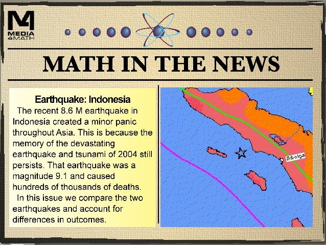 The Indonesian Earthquake This map shows the location of the earthquake, which is near Indonesia. (Source for all map grap...
