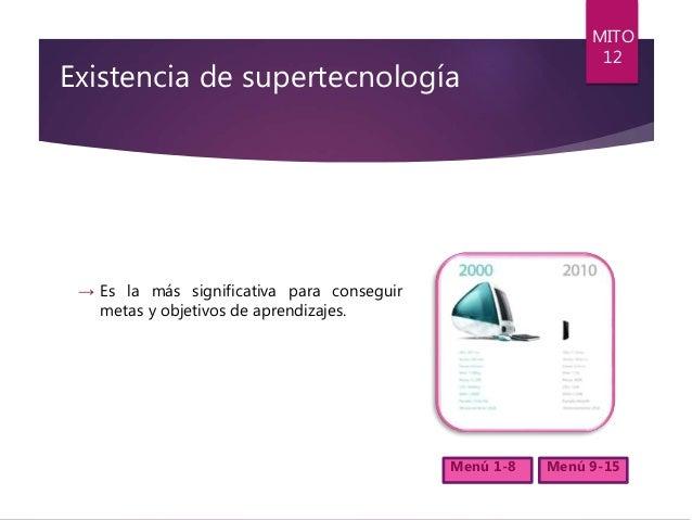 Existencia de supertecnología → Es la más significativa para conseguir metas y objetivos de aprendizajes. MITO 12 Menú 1-8...