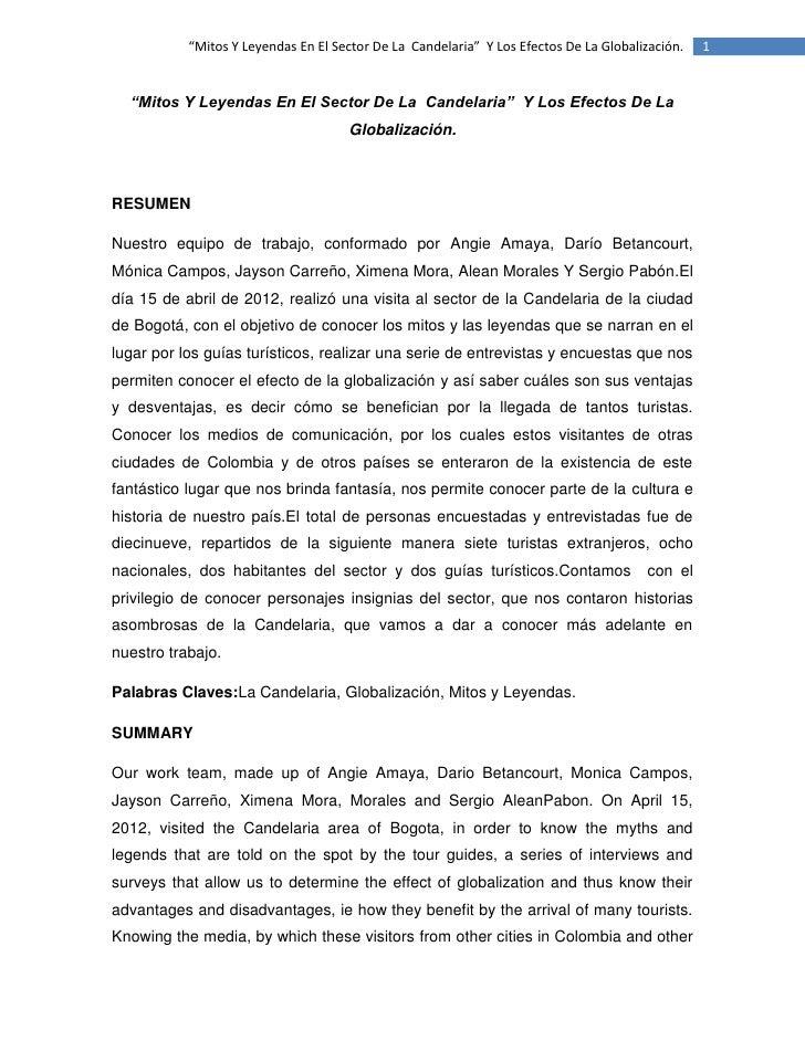 """""""Mitos Y Leyendas En El Sector De La Candelaria"""" Y Los Efectos De La Globalización.   1  """"Mitos Y Leyendas En El Sector De..."""