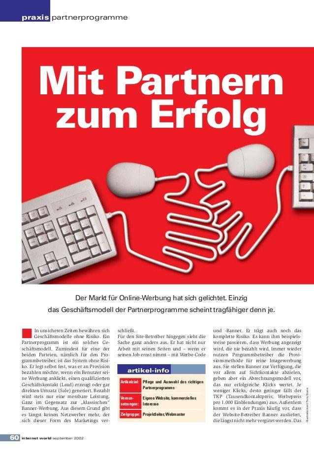 praxis partnerprogramme             Mit Partnern             zum Erfolg                               Der Markt für Online...