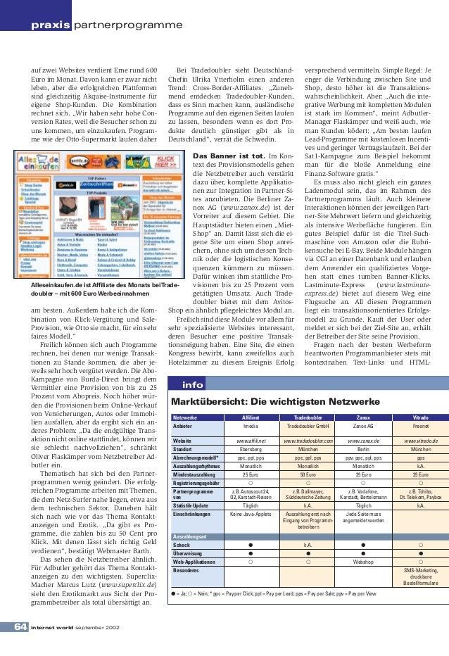 praxis partnerprogramme     auf zwei Websites verdient Erne rund 600                      Bei Tradedoubler sieht Deutschla...