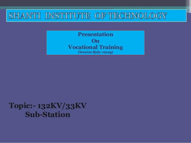 Presentation On Vocational Training (Session 8july-19aug)  Topic:- 132KV/33KV Sub-Station