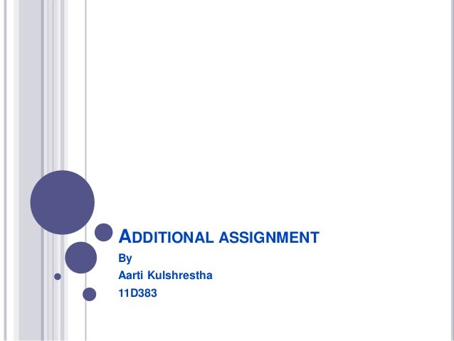 ADDITIONAL ASSIGNMENT By Aarti Kulshrestha 11D383