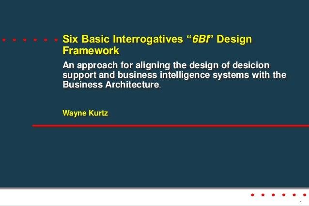 "Six Basic Interrogatives ""6BI"" Design Framework An approach for aligning the design of desicion support and business intel..."