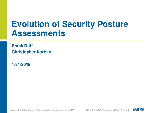 Frank Duff Christopher Korban 1/31/2018 Evolution of Security Posture Assessments Approved for Public Release; Distributio...