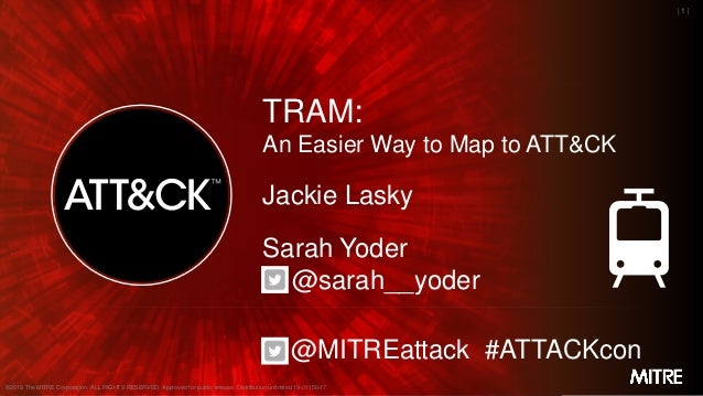MITRE | 1 | TRAM: An Easier Way to Map to ATT&CK Jackie Lasky Sarah Yoder @sarah__yoder @MITREattack #ATTACKcon ©2019 The ...
