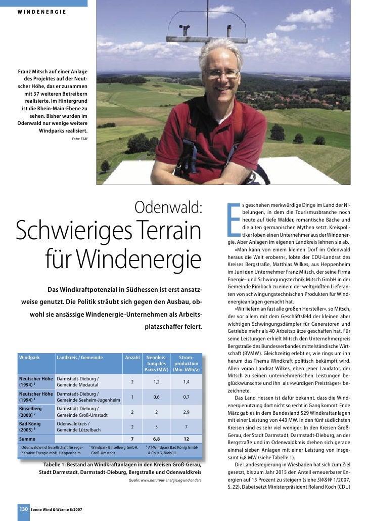 WINDENERGIE     Franz Mitsch auf einer Anlage    des Projektes auf der Neut- scher Höhe, das er zusammen    mit 37 weitere...