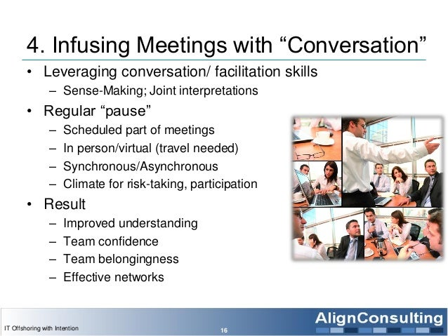 "4. Infusing Meetings with ""Conversation"" • Leveraging conversation/ facilitation skills – Sense-Making; Joint interpretati..."