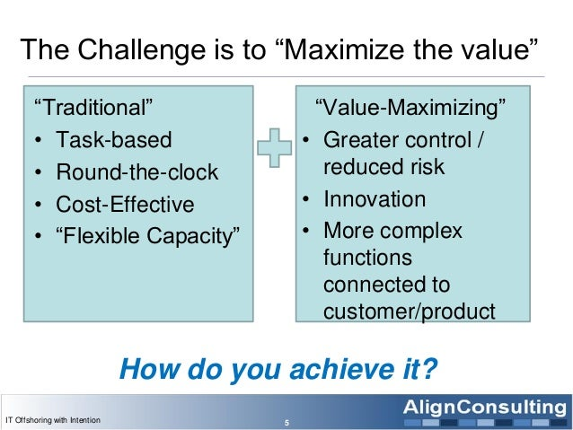 """The Challenge is to """"Maximize the value"""" """"Traditional"""" • Task-based • Round-the-clock • Cost-Effective • """"Flexible Capacit..."""