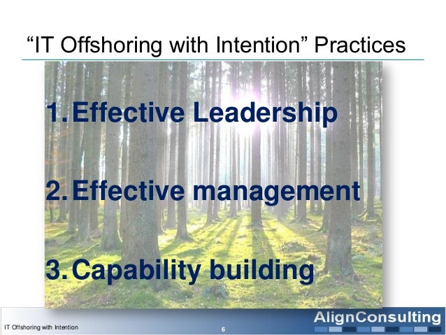 """""""IT Offshoring with Intention"""" Practices 1.Effective Leadership 2.Effective management 3.Capability building 6IT Offshorin..."""