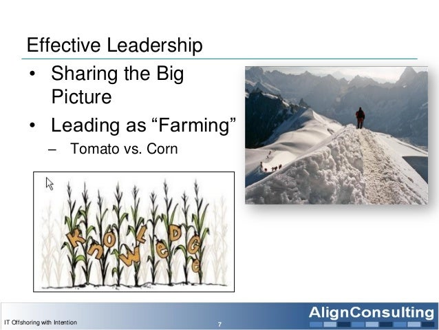 """Effective Leadership • Sharing the Big Picture • Leading as """"Farming"""" – Tomato vs. Corn 7IT Offshoring with Intention"""