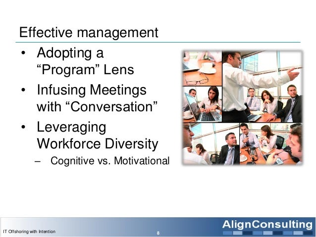 """Effective management • Adopting a """"Program"""" Lens • Infusing Meetings with """"Conversation"""" • Leveraging Workforce Diversity ..."""
