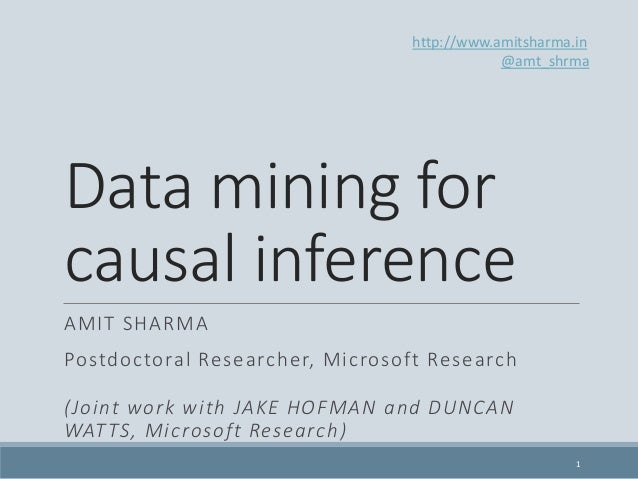 Data mining for causal inference AMIT SHARMA Postdoctoral Researcher, Microsoft Research (Joint work with JAKE HOFMAN and ...