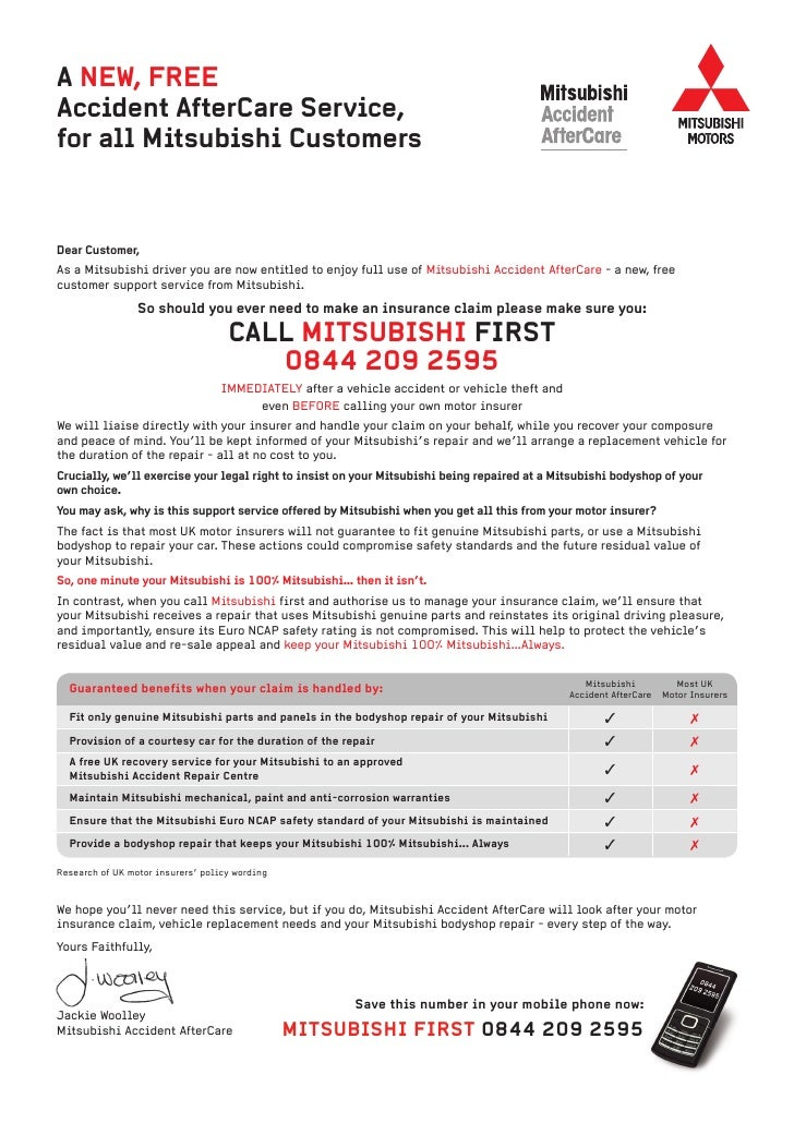 A NEW, FREEAccident AfterCare Service,for All Mitsubishi CustomersDear  Customer,As A Mitsubishi ...