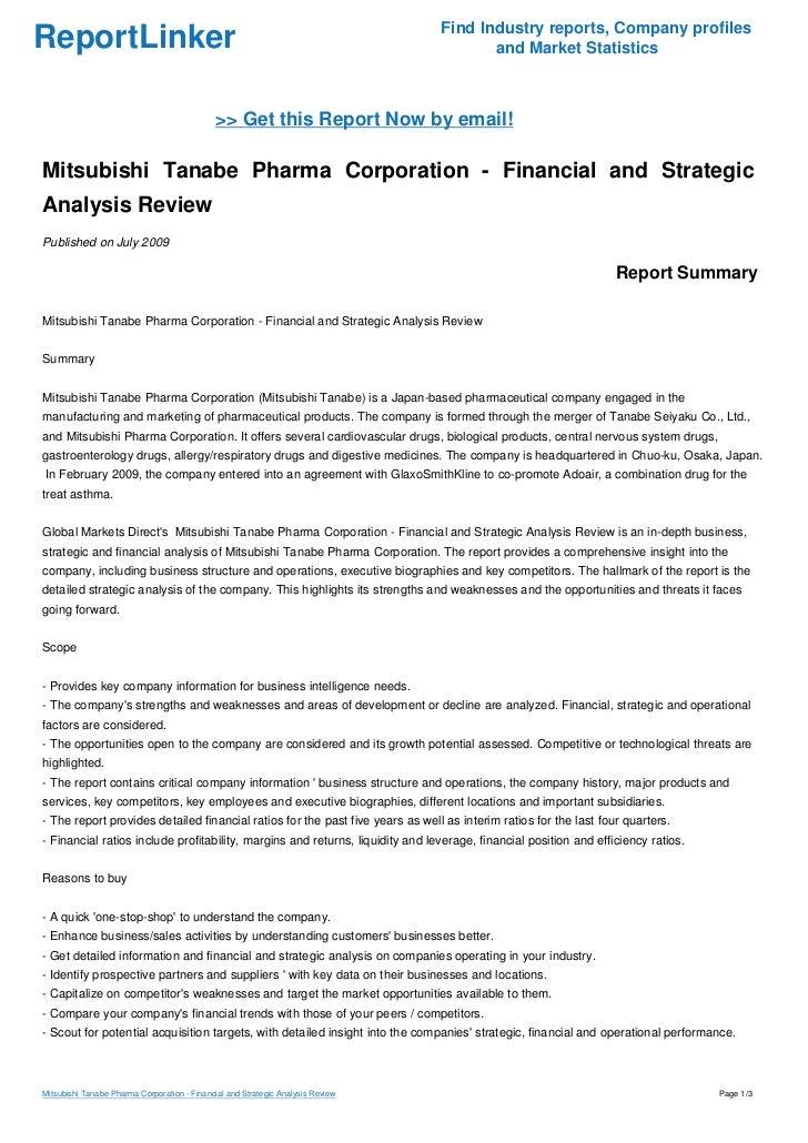 Mitsubishi Tanabe Pharma Corporation - Financial and Strategic Analys…