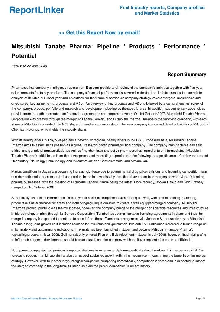 Mitsubishi Tanabe Pharma: Pipeline ' Products ' Performance ' Potenti…