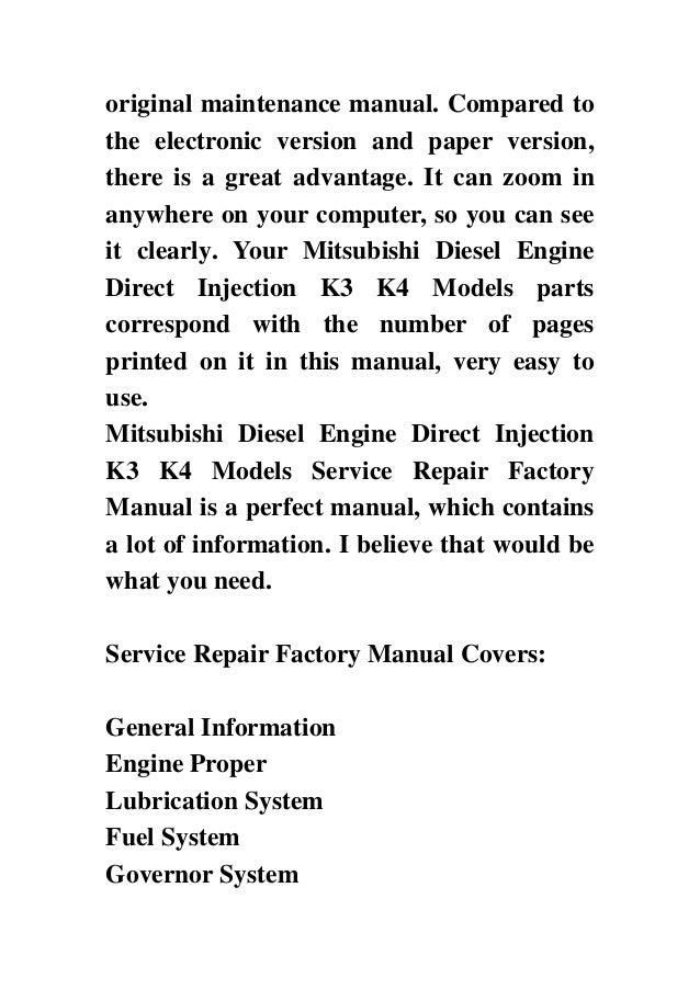 Mitsubishi Diesel Engine Direct Injection K3 K4 Models