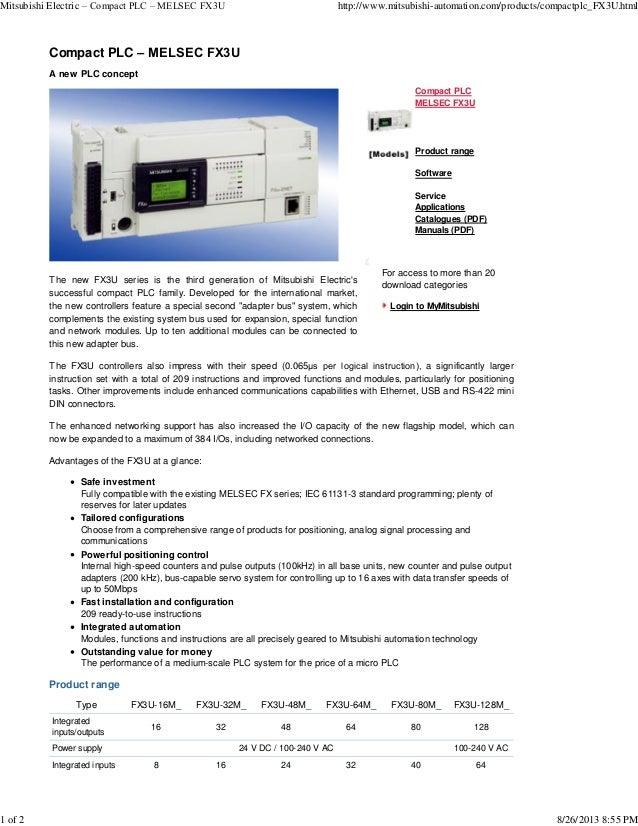 Mitsubishi electric – compact plc – melsec fx3u