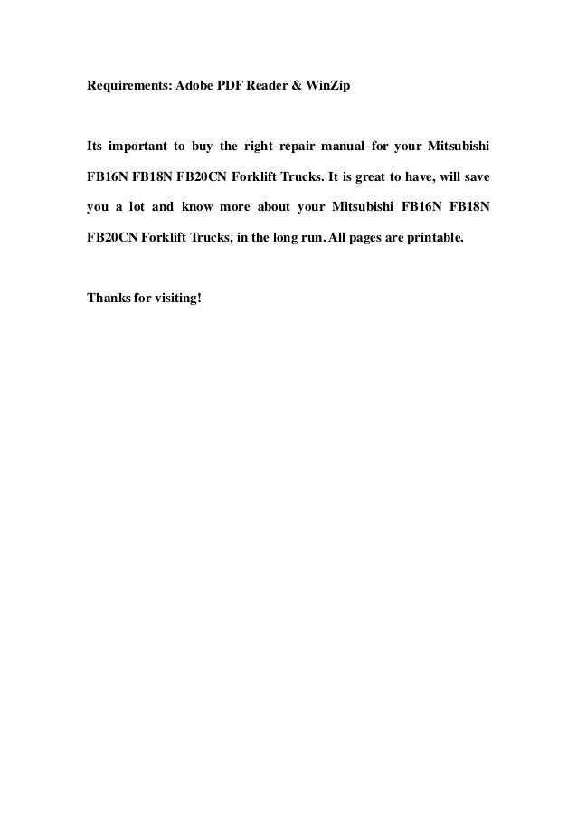 mitsubishi fb16 n fb18n fb20cn forklift trucks service repair worksho rh slideshare net