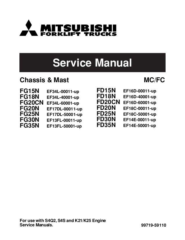 Mitsubishi fg15 n forklift trucks service repair manual sn:f25c 50001…