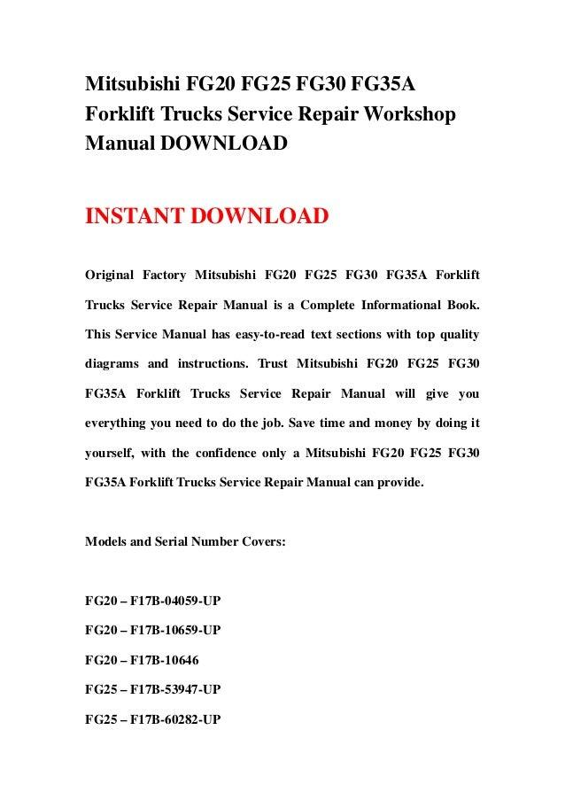 mitsubishi fg20 fg25 fg30 fg35a forklift trucks service repair worksh rh slideshare net