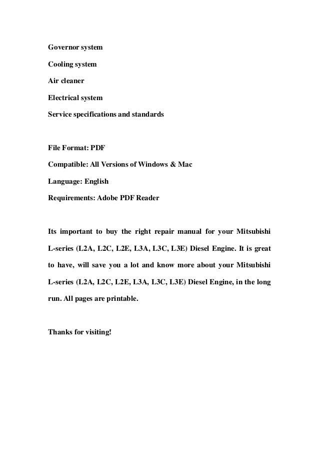 mitsubishi l series diesel engine l2a l2c l2e l3a l3c l3e factory service repair workshop manual instant download