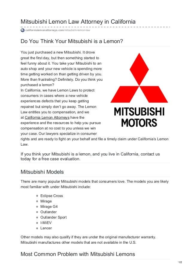 California Lemon Law The Lemon Law Attorneys >> Mitsubishi Lemon Law Attorney In California