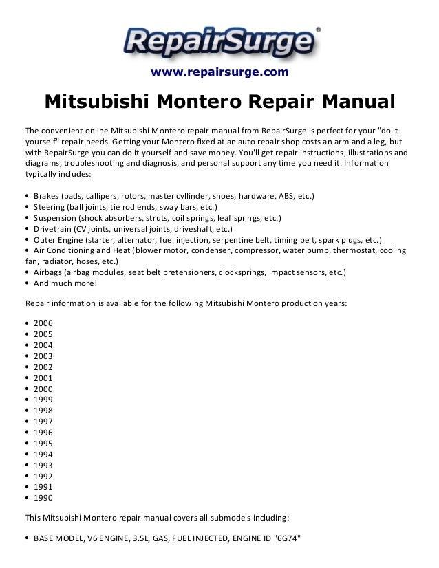 Mitsubishi Montero Repair Manual 1990 2006rhslideshare: 2003 Mitsubishi Montero Alternator Wiring Diagram At Gmaili.net