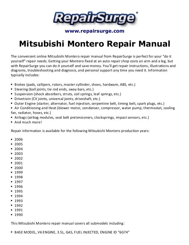 mitsubishi montero repair manual 1990 2006 rh slideshare net 3.0 L Mitsubishi 6G72 V6 3.0 L Mitsubishi 6G72 V6