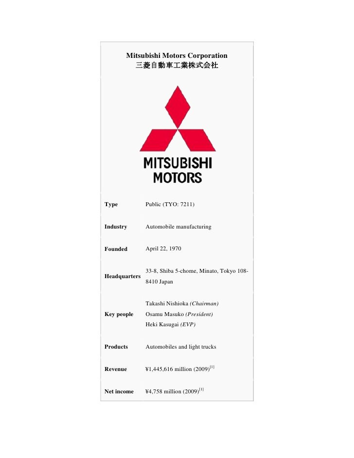 Mitsubishi Motors Corporation三菱自動車工業株式会社TypePublic (TYO: 7211)IndustryAutomobile manufacturingFoundedApril 22, 1970Headqua...