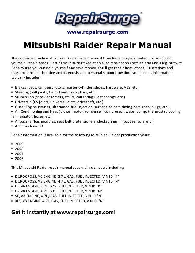 mitsubishi raider repair manual 2006 2009 rh slideshare net