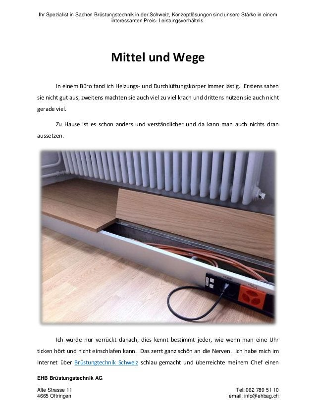 Ihr Spezialist in Sachen Brüstungstechnik in der Schweiz, Konzeptlösungen sind unsere Stärke in einem interessanten Preis-...