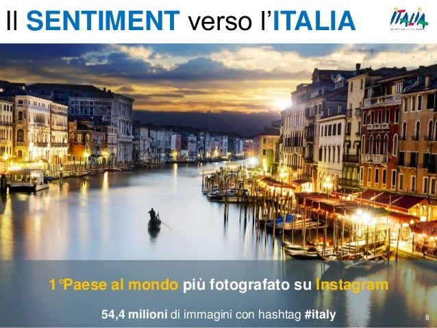 1°Paese al mondo più fotografato su Instagram 54,4 milioni di immagini con hashtag #italy 8 Il SENTIMENT verso l'ITALIA