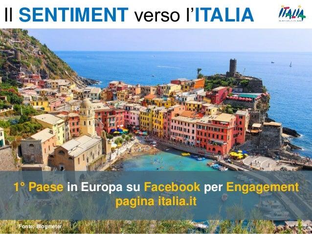 1° Paese in Europa su Facebook per Engagement pagina italia.it Fonte: Blogmeter 9 Il SENTIMENT verso l'ITALIA
