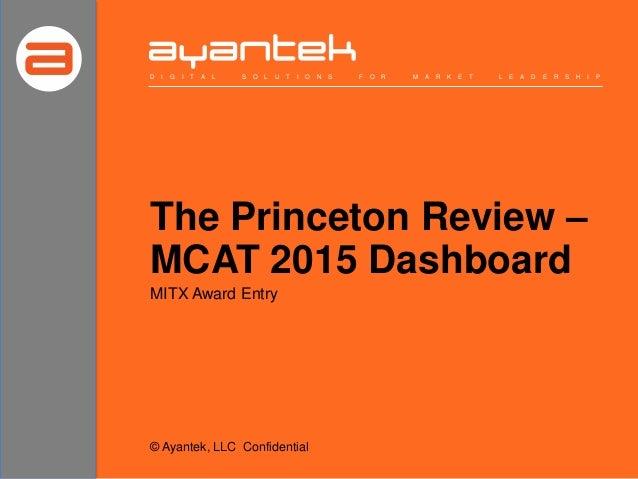 The Princeton Review – MCAT 2015 Dashboard D I G I T A L S O L U T I O N S F O R M A R K E T L E A D E R S H I P MITX Awar...