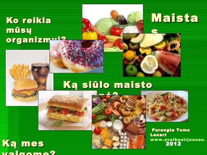 Ko reikia  mūsų organizmui? Ką siūlo maisto pramonė? Ką mes valgome? Maistas Parengta Tomo Lenart www.sveikasirjaunas.lt 2...