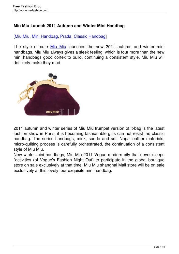 Free Fashion Bloghttp://www.fre-fashion.comMiu Miu Launch 2011 Autumn and Winter Mini Handbag[Miu Miu, Mini Handbag, Prada...
