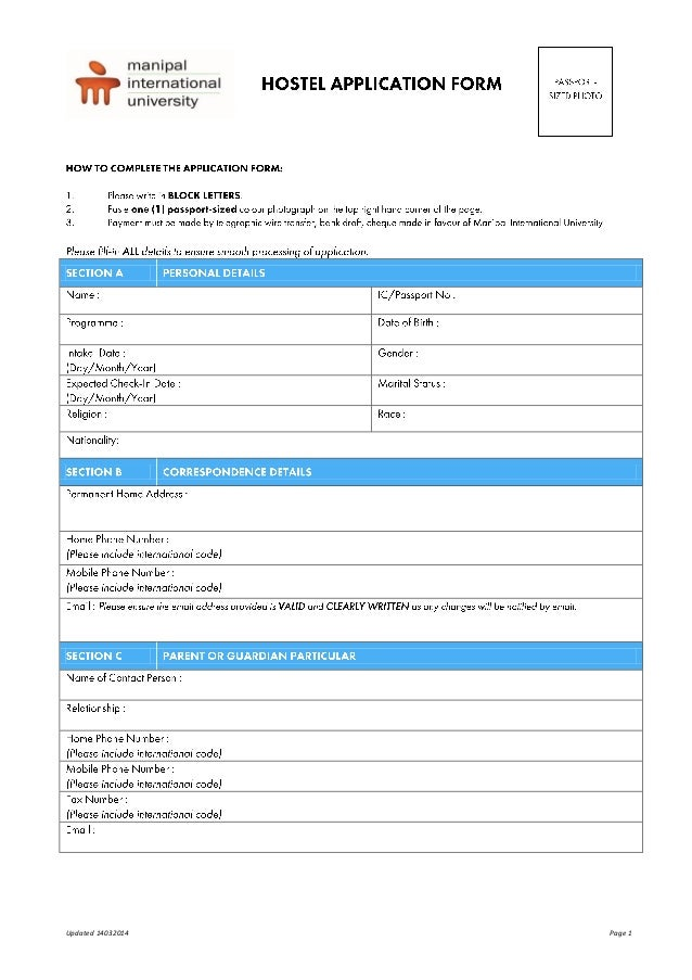 Miu hostel application form anggerik apartment – Apartment Application