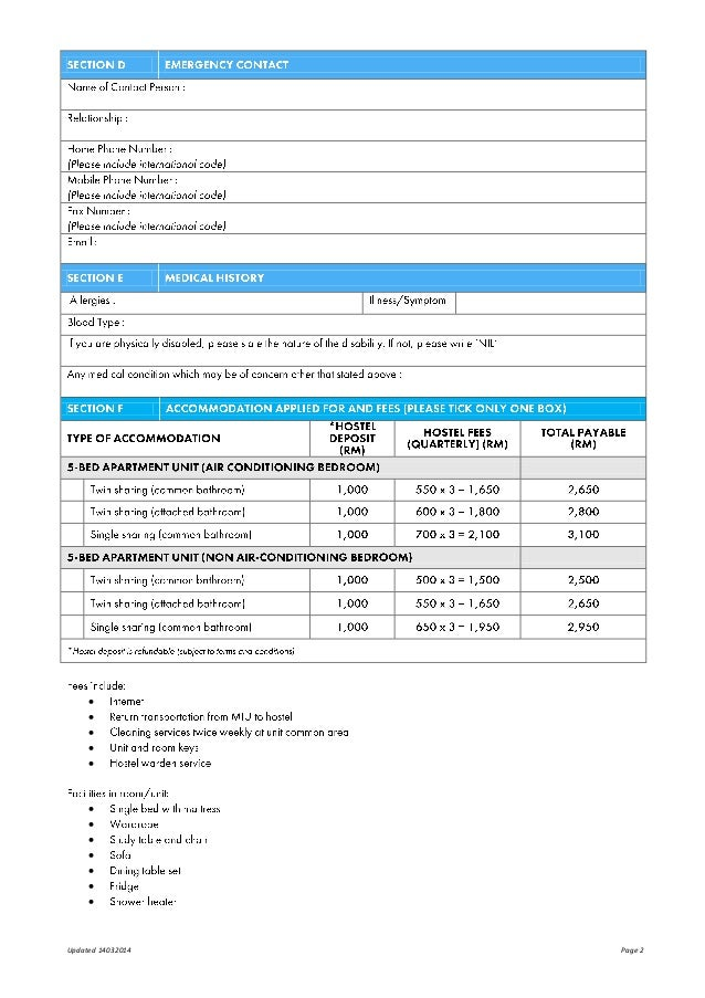 Miu hostel application form anggerik apartment – Apartment Application Form