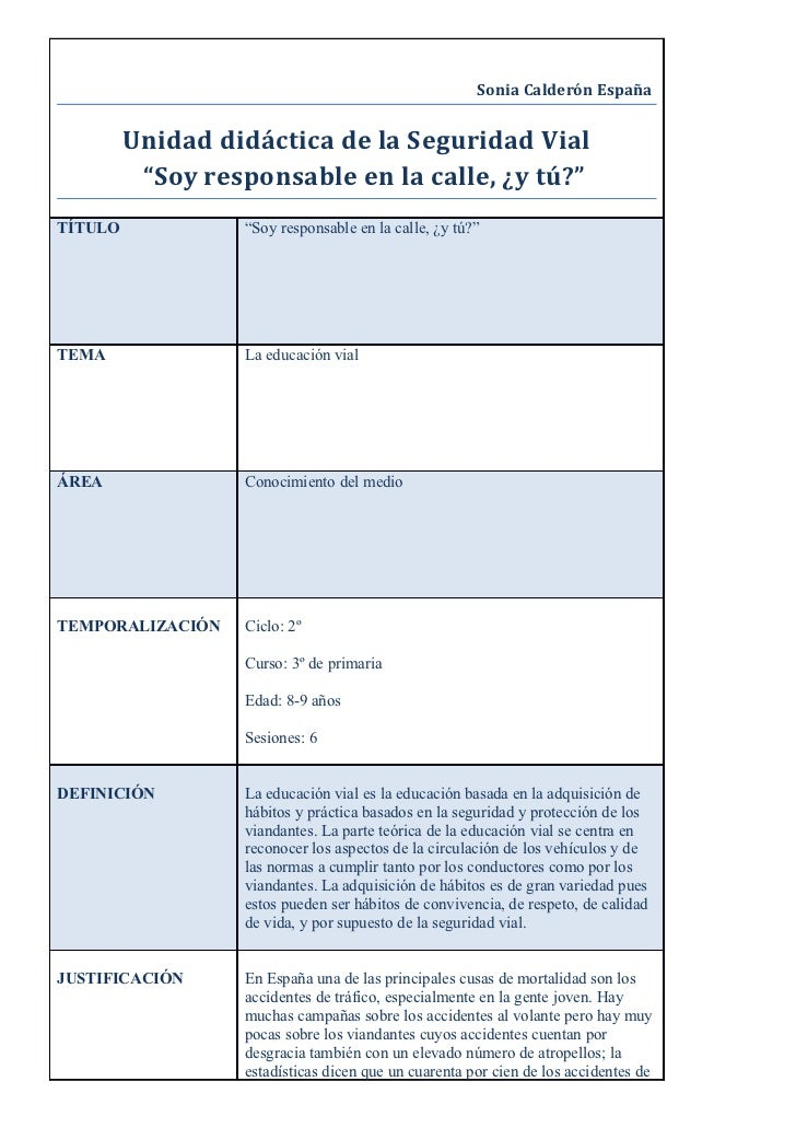"""Sonia Calderón España         Unidad didáctica de la Seguridad Vial          """"Soy responsable en la calle, ¿y tú?""""TÍTULO  ..."""