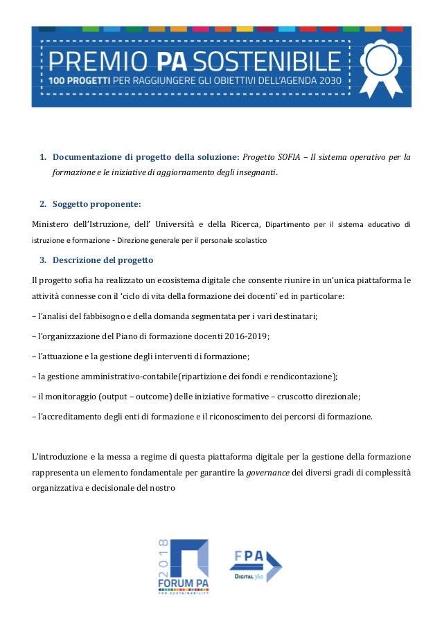 1. Documentazione di progetto della soluzione: Progetto SOFIA – Il sistema operativo per la formazione e le iniziative di ...