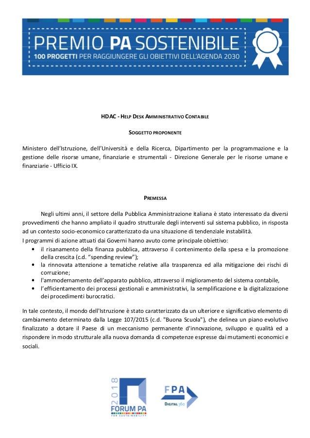 HDAC - HELP DESK AMMINISTRATIVO CONTABILE SOGGETTO PROPONENTE Ministero dell'Istruzione, dell'Università e della Ricerca, ...