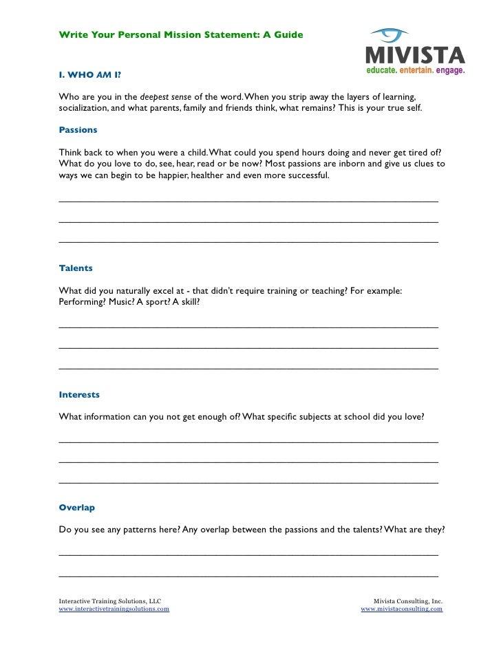 Worksheets Personal Mission Statement Worksheet collection of personal mission statement worksheet sharebrowse worksheet