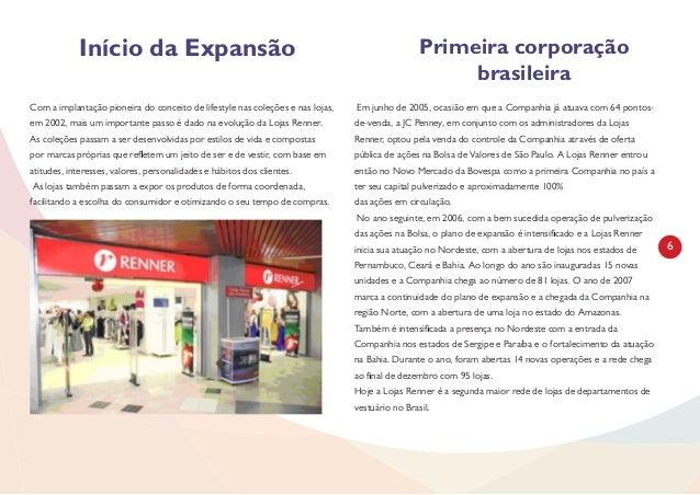 6 Início da Expansão Primeira corporação brasileira Com a implantação pioneira do conceito de lifestyle nas coleções e nas...