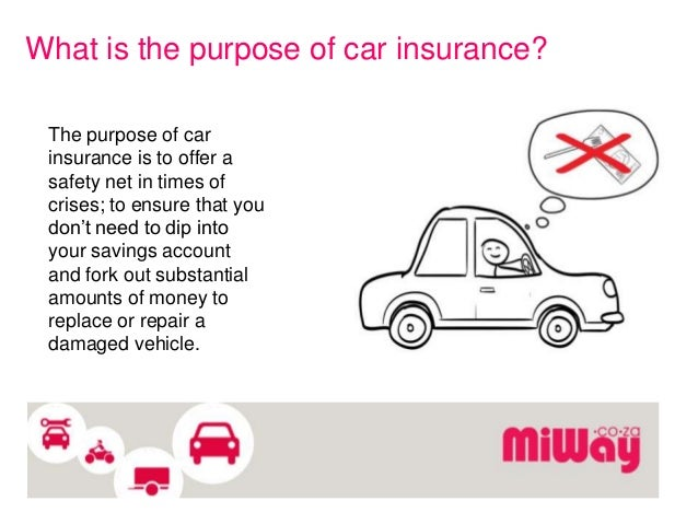 The purpose of automobile insurance and